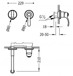 TRES - Jednopáková nástěnná baterieVčetně nerozdělitelného zabudovaného tělesa. Ramínko 210mm. (24220001LM), fotografie 2/1