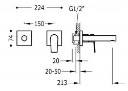 TRES - Jednopáková nástěnná baterieVčetně nerozdělitelného zabudovaného tělesa. Ramínko 213mm. (21120282OR), fotografie 2/1