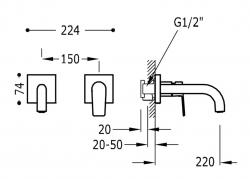 TRES - Jednopáková nástěnná baterieVčetně nerozdělitelného zabudovaného tělesa. Ramínko 220mm. (21120081KM), fotografie 2/1
