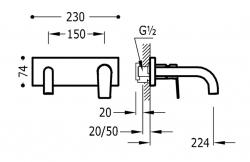 TRES - Jednopáková nástěnná baterieVčetně nerozdělitelného zabudovaného tělesa. Ramínko 224mm. (21120002OM), fotografie 2/1