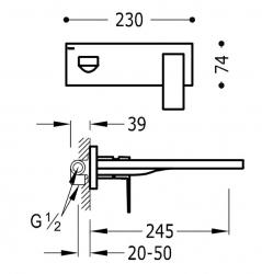 TRES - Jednopáková nástěnná baterieVčetně nerozdělitelného zabudovaného tělesa. Ramínko 245mm. (00620004OR), fotografie 2/1
