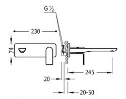 TRES - Jednopáková nástěnná baterieVčetně nerozdělitelného zabudovaného tělesa. Ramínko 245mm. (20020002OM), fotografie 2/1