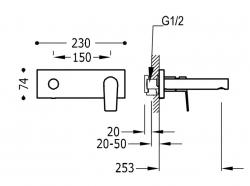 TRES - Jednopáková nástěnná baterieVčetně nerozdělitelného zabudovaného tělesa. Ramínko 253mm. (21120203OM), fotografie 2/1