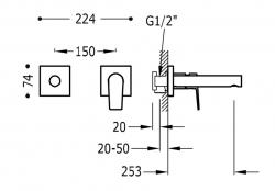 TRES - Jednopáková nástěnná baterieVčetně nerozdělitelného zabudovaného tělesa. Ramínko 253mm. (21120283KM), fotografie 2/1
