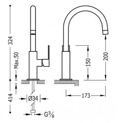 TRES - Jednopáková umyvadlová baterie (20020505VI), fotografie 2/1