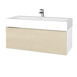 Dřevojas - Koupelnová skříňka VARIANTE SZZ 100 - N01 Bílá lesk / D02 Bříza (264963U)