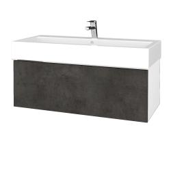 Dřevojas - Koupelnová skříňka VARIANTE SZZ 100 - N01 Bílá lesk / D16 Beton tmavý (265052U)