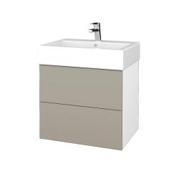Dřevojas - Koupelnová skříň VARIANTE SZZ2 60 - N01 Bílá lesk / L04 Béžová vysoký lesk (266059)