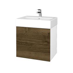 Dřevojas - Koupelnová skříň VARIANTE SZZ2 60 - N01 Bílá lesk / D21 Tobacco (266158)