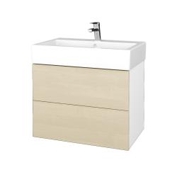 Dřevojas - Koupelnová skříňka VARIANTE SZZ2 70 - N01 Bílá lesk / D02 Bříza (266370)