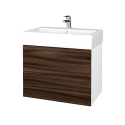 Dřevojas - Koupelnová skříňka VARIANTE SZZ2 70 - N01 Bílá lesk / D06 Ořech (266417)