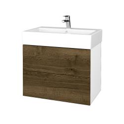 Dřevojas - Koupelnová skříňka VARIANTE SZZ2 70 - N01 Bílá lesk / D21 Tobacco (266622)