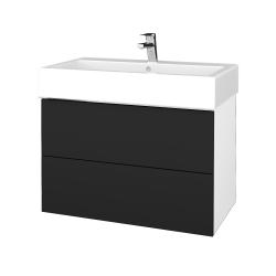 Dřevojas - Koupelnová skříň VARIANTE SZZ2 80 - N01 Bílá lesk / L03 Antracit vysoký lesk (266981)