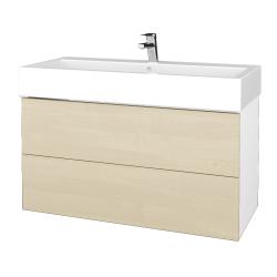 Dřevojas - Koupelnová skříň VARIANTE SZZ2 100 - N01 Bílá lesk / D02 Bříza (267315)