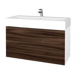 Dřevojas - Koupelnová skříň VARIANTE SZZ2 100 - N01 Bílá lesk / D06 Ořech (267353)