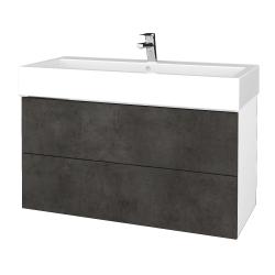 Dřevojas - Koupelnová skříň VARIANTE SZZ2 100 - N01 Bílá lesk / D16 Beton tmavý (267407)