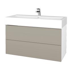 Dřevojas - Koupelnová skříňka VARIANTE SZZ2 100 - N01 Bílá lesk / L04 Béžová vysoký lesk (267469U)