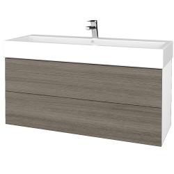 Dřevojas - Koupelnová skříň VARIANTE SZZ2 120 - N01 Bílá lesk / D03 Cafe (267797U)