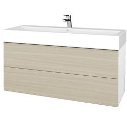 Dřevojas - Koupelnová skříň VARIANTE SZZ2 120 - N01 Bílá lesk / D04 Dub (267803)