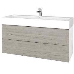 Dřevojas - Koupelnová skříň VARIANTE SZZ2 120 - N01 Bílá lesk / D05 Oregon (267810)
