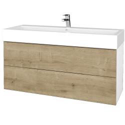 Dřevojas - Koupelnová skříň VARIANTE SZZ2 120 - N01 Bílá lesk / D09 Arlington (267841)