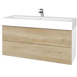 Dřevojas - Koupelnová skříň VARIANTE SZZ2 120 - N01 Bílá lesk / D15 Nebraska (267865U)