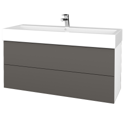 Dřevojas - Koupelnová skříň VARIANTE SZZ2 120 - N01 Bílá lesk / N06 Lava (267957U)