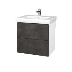 Dřevojas - Koupelnová skříň VARIANTE SZZ2 60 - N01 Bílá lesk / D16 Beton tmavý (273033)