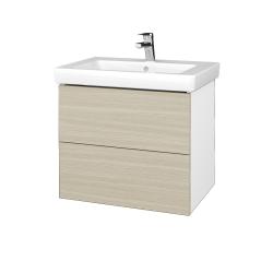 Dřevojas - Koupelnová skříňka VARIANTE SZZ2 65 - N01 Bílá lesk / D04 Dub (273439)