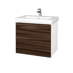 Dřevojas - Koupelnová skříňka VARIANTE SZZ2 65 - N01 Bílá lesk / D06 Ořech (273453)