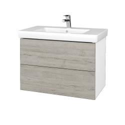 Dřevojas - Koupelnová skříň VARIANTE SZZ2 80 - N01 Bílá lesk / D05 Oregon (273910)