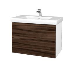 Dřevojas - Koupelnová skříň VARIANTE SZZ2 80 - N01 Bílá lesk / D06 Ořech (273927)