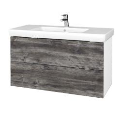 Dřevojas - Koupelnová skříň VARIANTE SZZ2 100 - N01 Bílá lesk / D10 Borovice Jackson (274429)