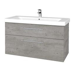 Dřevojas - Koupelnová skříň Q MAX SZZ2 105 - D01 Beton / Úchytka T02 / D01 Beton (331641B)