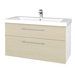 Dřevojas - Koupelnová skříň Q MAX SZZ2 105 - N01 Bílá lesk / Úchytka T02 / D02 Bříza (331856B)