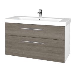 Dřevojas - Koupelnová skříň Q MAX SZZ2 105 - N01 Bílá lesk / Úchytka T02 / D03 Cafe (331863B)