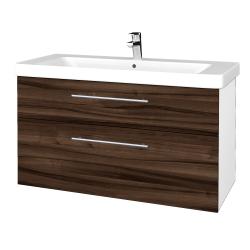 Dřevojas - Koupelnová skříň Q MAX SZZ2 105 - N01 Bílá lesk / Úchytka T02 / D06 Ořech (331894B)