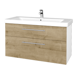 Dřevojas - Koupelnová skříň Q MAX SZZ2 105 - N01 Bílá lesk / Úchytka T02 / D09 Arlington (331917B)