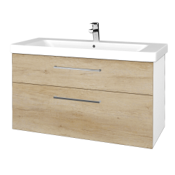 Dřevojas - Koupelnová skříň Q MAX SZZ2 105 - N01 Bílá lesk / Úchytka T04 / D15 Nebraska (331931E)