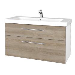 Dřevojas - Koupelnová skříň Q MAX SZZ2 105 - N01 Bílá lesk / Úchytka T02 / D17 Colorado (331955B)