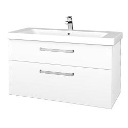 Dřevojas - Koupelnová skříň Q MAX SZZ2 105 - N01 Bílá lesk / Úchytka T01 / M01 Bílá mat (331962A)
