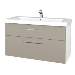 Dřevojas - Koupelnová skříň Q MAX SZZ2 105 - N01 Bílá lesk / Úchytka T04 / M05 Béžová mat (331979E)