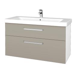 Dřevojas - Koupelnová skříň Q MAX SZZ2 105 - N01 Bílá lesk / Úchytka T01 / L04 Béžová vysoký lesk (332006A)