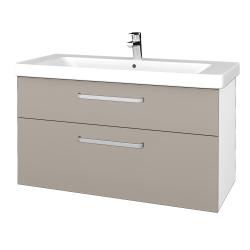 Dřevojas - Koupelnová skříň Q MAX SZZ2 105 - N01 Bílá lesk / Úchytka T01 / N07 Stone (332037A)