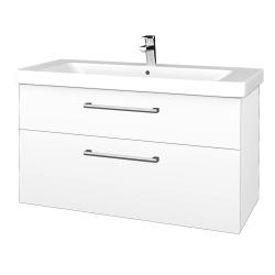 Dřevojas - Koupelnová skříň Q MAX SZZ2 105 - N01 Bílá lesk / Úchytka T03 / L01 Bílá vysoký lesk (332051C)