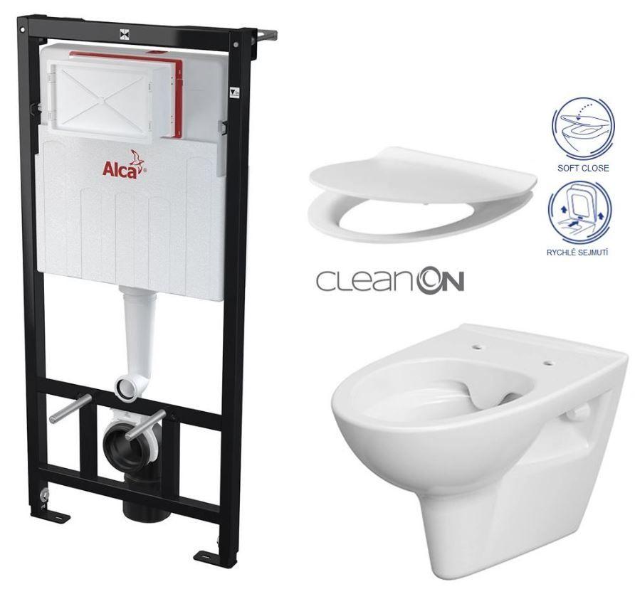 ALCAPLAST Sádromodul předstěnový instalační systém bez tlačítka + WC CERSANIT CLEANON PARVA + SEDÁTKO AM101/1120 X PA2