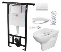 ALCAPLAST  Jádromodul - předstěnový instalační systém s bílým tlačítkem M1710 + WC CERSANIT CLEANON PARVA + SEDÁTKO (AM102/1120 M1710 PA2)