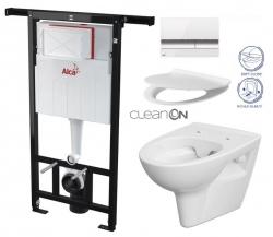 SET Jádromodul - předstěnový instalační systém + tlačítko M1720-1 + WC CERSANIT CLEANON PARVA + SEDÁTKO (AM102/1120 M1720-1 PA2) - AKCE/SET/ALCAPLAST