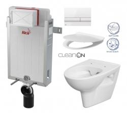 AKCE/SET/ALCAPLAST - SET Renovmodul - předstěnový instalační systém + tlačítko M1710 + WC CERSANIT CLEANON PARVA + SEDÁTKO (AM115/1000 M1710 PA2)