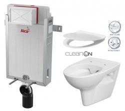 ALCAPLAST  Renovmodul - předstěnový instalační systém bez tlačítka + WC CERSANIT CLEANON PARVA + SEDÁTKO (AM115/1000 X PA2)